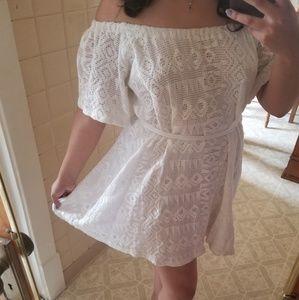 Banana Republic White Lace Off Shoulder Dress